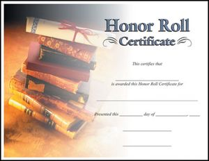 HONOR ROLL CERTIFICATE 100 STD PACK