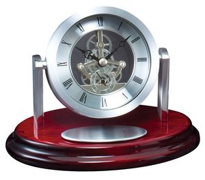 SILVER CLOCK ON OVAL BAS 6 STD PACK
