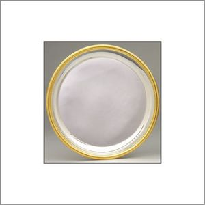 ROUND PLATE,SILVER W/GOL 25 STD PACK